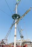 Crow's nest on the mainmast of a ship. Stock Image