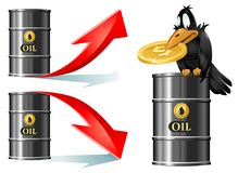 Crow sits on a barrel of oil and holds dollar symbol. Barrels of oil with up and down price rate arrows. Stock Images