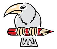 A crow sits on a pencil. Royalty Free Stock Photography