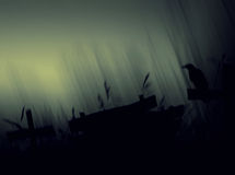 Crow sitting on a gravestone silhouette abstract background. Royalty Free Stock Photos