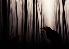 Crow sitting on a gravestone silhouette Royalty Free Stock Photos