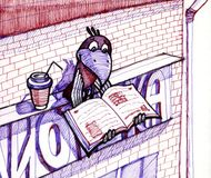 Crow sitting in the sign of library. Little bird reads and drinking coffee royalty free illustration
