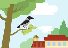 Crow tree branch flat design cartoon vector wild animals birds. Crow on the street tree branch flat design cartoon vector wild animals birds. Flat zoo nature Stock Illustration