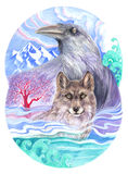 Crow, wolf and red tree Stock Photography