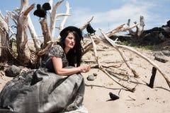 Crow woman in desert Stock Image