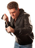 Crowbar Crook. Man ready to force apart something using a crowbar Stock Photography