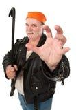 Crowbar Grip. Fat hoodlum with kung-fu grip and crow bar Royalty Free Stock Photos