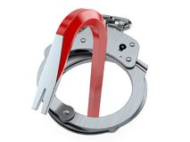 Crowbar inside handcuffs. Isolated on white background. 3d illustration Royalty Free Stock Image