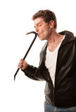 Crowbar Thief. Contented thief kissing his crowbar on white background Stock Photo