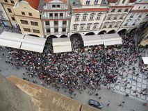 Crowd. Many people crowded into a public sqare in prague seen from above Stock Image