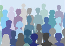 Crowd. Silhouettes of standing people Royalty Free Stock Photos