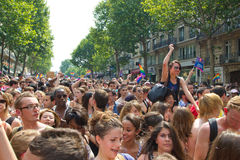 Crowd in 2010 Gay pride in Paris France Royalty Free Stock Images