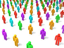 Crowd. Figures on white background. 3D image Stock Photography