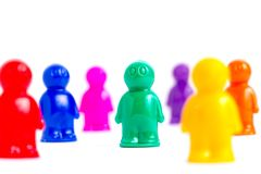 Crowd. Of the colorful toy people Stock Photography