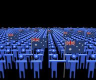 Crowd of abstract people with many Australian flags illustration. Crowd of abstract people with many Australian flags 3d illustration Royalty Free Stock Image