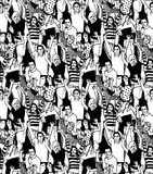Crowd active happy  people seamless black pattern Stock Images