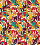 Crowd active happy people seamless color pattern. Big group of active happy people. Color seamless pattern. Vector illustration. EPS 8 Stock Image
