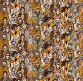 Crowd active young casual people seamless pattern Royalty Free Stock Photography
