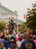 Crowd and American Gothic Sculpture at Iowa State Fair Royalty Free Stock Images