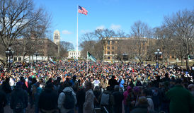 Crowd at Ann Arbor Hash Bash 2014. ANN ARBOR, MI - APRIL 5: View of the crowd from the stage at the 43rd annual Hash Bash rally in Ann Arbor, MI April 5 2014 royalty free stock image