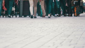 Crowd Anonymous People Walking on the Street. Crowd Feet stock footage