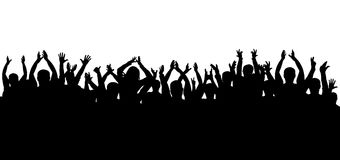 Crowd of applause at the concert isolated silhouette. Crowd of applause at the concert isolated silhouette stock illustration