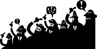 Crowd argument. A silhouette vector image containing characters involved in a vivid discussion Royalty Free Stock Photography