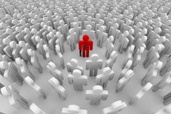 Crowd around the man. Crowd around the one red man. 3D image Royalty Free Stock Image