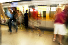Crowd At The Metro Station Stock Images