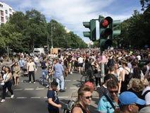 Crowd attending the Carnival of Cultures Parade Karneval der Kulturen Umzug - a multicultural music festival in Kreuzberg,. Berlin, Germany - June 9, 2019: Crowd stock photo