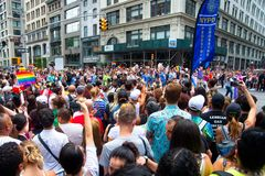 Crowd attending the 2018 New York City Pride Parade. Royalty Free Stock Photo