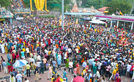 Crowd At Batu Cave During Thaipusam Festival. BATU CAVE, MALAYSIA - January 20 : Large crowd at the ground of Batu Cave temple, Malaysia during Thaipusam on 20 stock photography