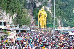 Crowd At Batu Cave During Thaipusam Festival Royalty Free Stock Photography