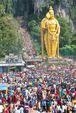 Crowd At Batu Cave During Thaipusam Festival. BATU CAVE, MALAYSIA - January 20 : Large crowd at the ground of Batu Cave temple, Malaysia during Thaipusam on 20 royalty free stock photos