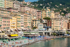 Crowd in the beach of Camogli during a sunny afternoon Royalty Free Stock Photos