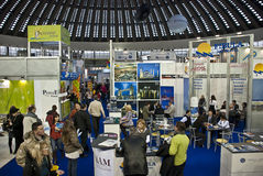 Crowd in Belgrade tourism fair in Serbia Stock Images