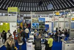 Crowd in Belgrade tourism fair in Serbia stock images