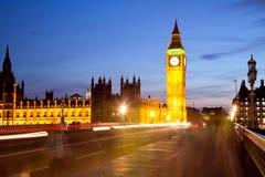 Crowd at Big Ben. Landscape of Big Ben and crowd at Westminster Bridge London England UK Stock Images