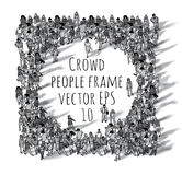 Crowd big group people frame black and white. Royalty Free Stock Photos