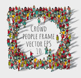 Crowd big group people frame. Stock Image