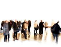 Crowd of blurred people. At exhibition or in a museum Stock Photos