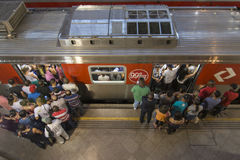 Crowd boarding train Stock Photography