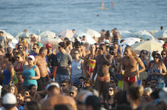 Crowd of Brazilians Ipanema Beach Rio de Janeiro Brazil Royalty Free Stock Photo