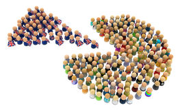 Crowd Brexit. Crowd of small symbolic figures, brexit 3d illustration, horizontal Stock Photos
