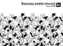 Crowd Business people running marathon black and white Royalty Free Stock Images