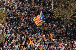 Demonstrators for independence in barcelona Royalty Free Stock Photos