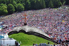 Crowd of Catholic pilgrims gathering to celebrate the Pentecost Royalty Free Stock Images