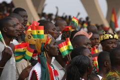 Crowd Celebrating. March 6, 2007 - Locals pack a stadium in Accra, Ghana, as the country marks its 50th anniversary of independence from Britain in a state Royalty Free Stock Photography