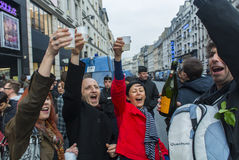 Crowd Celebrating Results French President Stock Images