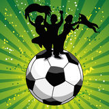Crowd Celebrating Soccer Game. On Ball Stock Photo